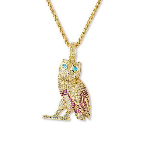 18k Gold Plated Iced Out OVO Owl Multi Color (High Quality)