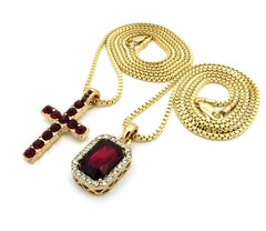 2 Chain Set Red Iced Out Cross And Red Ruby 24 Inch And 30 Inch Box Chain