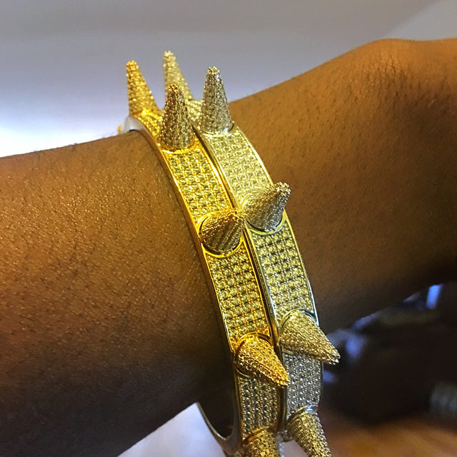 14K Iced Out Spike Bangle Bracelet One Size Fits All