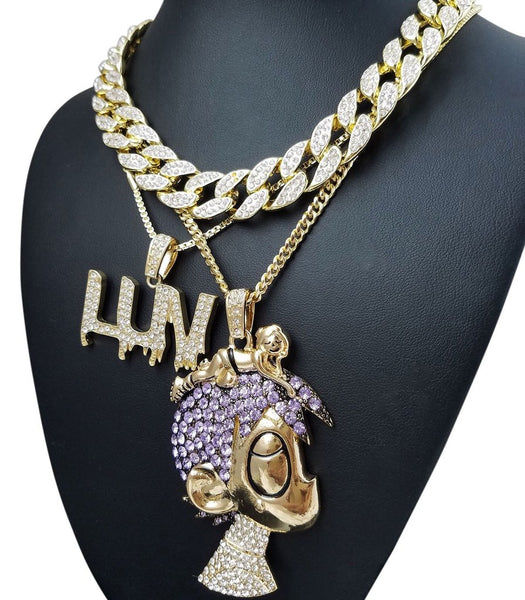 14k Gold Plated Miami Cuban Iced Out Uzi Chain Combo