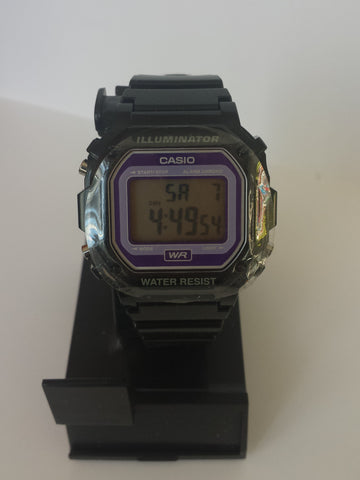 Black Purple Lens Chronograph Alarm Casio Watch