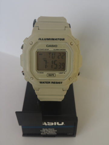 Cream White Chronograph Alarm Casio Watch
