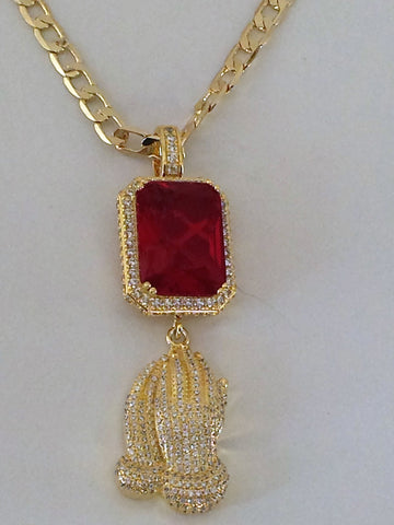 Gold Red Gem with Attached Iced Out Praying Hands