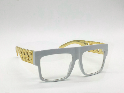 DatNew White Shady Clear Lens Glasses