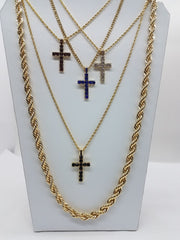 14k Gold Plated 5 Chain Combo Iced Out Cross Blue,Red,Black,Regular Ice With 30 Inch Rope Chain