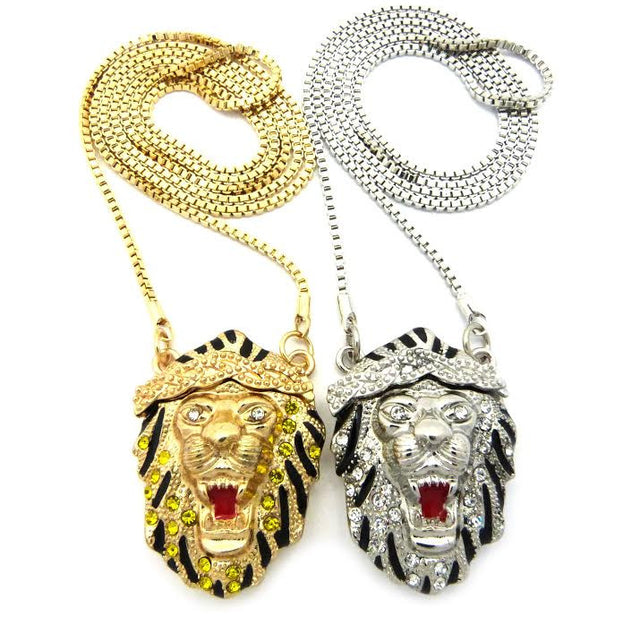 2 Chain Set: Yellow Gold And Silver Iced Out Lions