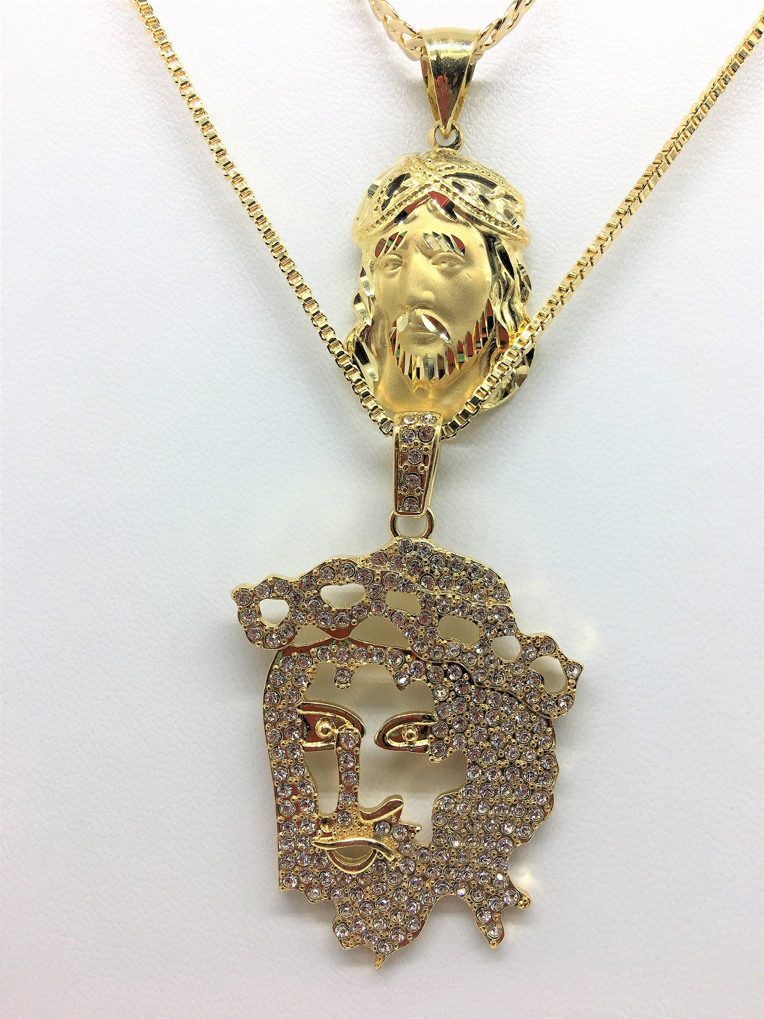 14K Gold Plated 2 Chain Set: Iced Out Flat Jesus And Iced Out Polish Jesus