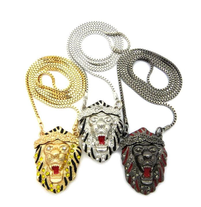 3 Chain Set: Iced Out Gold Black And Silver Lion