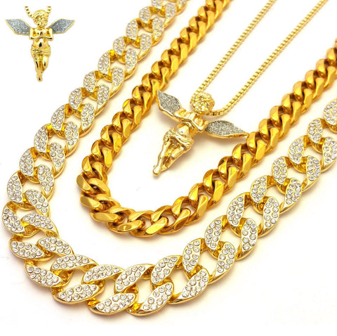 14k Gold Plated 3 Chain Set: Iced Out Cuban Iced Out Blue Wing Angel And Miami Cuban