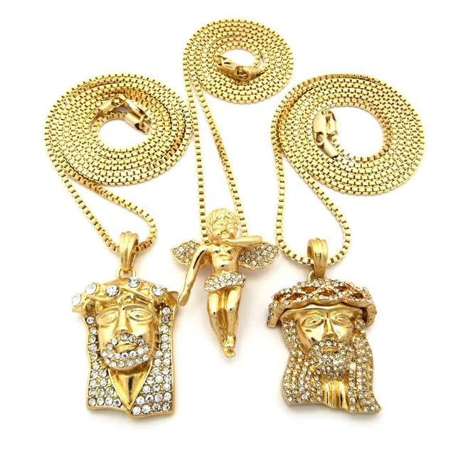 3 Chain Set Iced Out Angel And Iced Out Crown Jesus And Iced Out Jesus