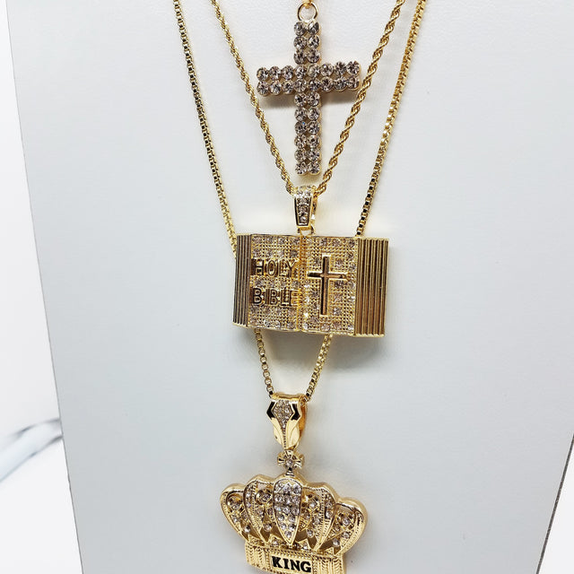 14k Gold Plated 3 Chain Combo: Iced Out Double Cross Holy Bible And King Crown