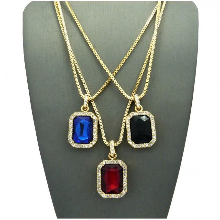 3 Chain Set: Red Black And Blue Iced Out Gems