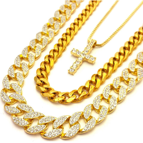 14k Gold Plated 3 Chain Set: Iced Out Cuban Icey Cross And Miami Cuban