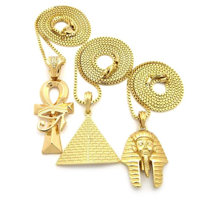 3 Chain Set: Eye Of Horus, Pyramid, And Pharaoh 24 30 And 32 Inch Box Chains