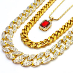14k Gold Plated 3 Chain Set: Iced Out Cuban Iced Out Ruby Angel And Miami Cuban