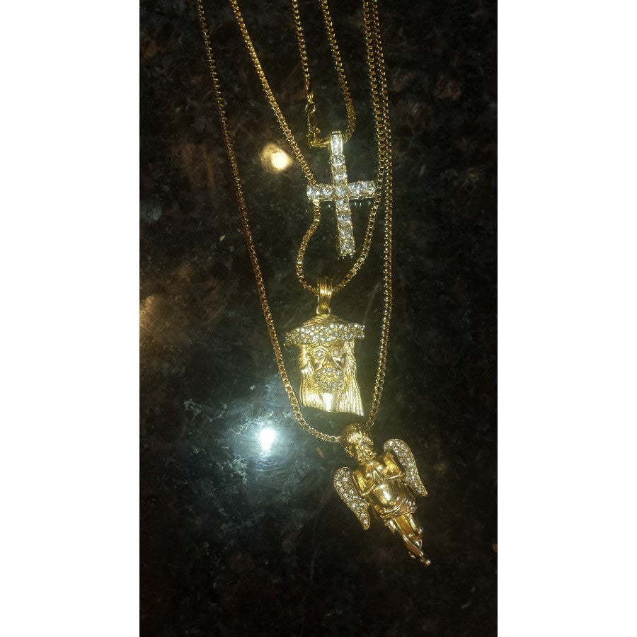 3 Chain Set Iced Out Angel Jesus And Cross