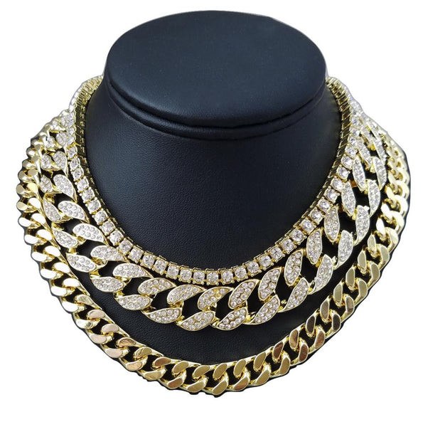 14k 3 Chain Set Iced Out Miami Cuban Iced Out Tennis Chain