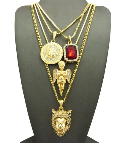 14k Gold Plated 4 Chain Set Icey Ruby King Leo Lion Medusa And Praying Angel