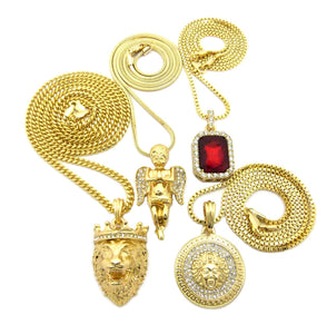 14k Gold Plated 4 Chain Set Iced Out Ruby King Leo Lion Medusa And Praying Angel