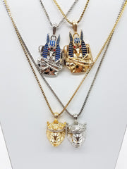 14K Gold Plates 4 Chain Set: Gold Anubis Silver Anubis Gold King Leo Silver King Leo