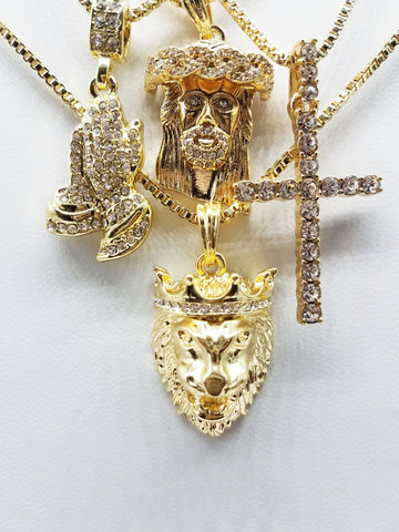 14K Gold Plated 4 Chain Combo: Iced Out Jesus King Leo Iced Out Tall Cross Iced Out Praying Hand
