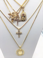 14K  Gold Plated 5 Chain Combo: Iced Out Ankh Iced Out Cross Iced Out Jesus Iced Out Angel And Mary