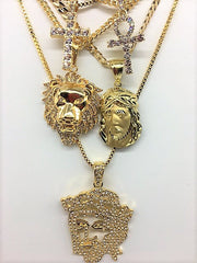 14K Gold Plated 5 Chain Set: Flat Face Jesus Polish Jesus Iced Out Ankh Iced Out Cross and Lion