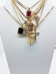 14K Gold Plated 7 Chain Combo: Iced Out Ruby Iced Out Black Gem Iced Out Key Iced Out Cross Iced Out Praying Hand King Leo