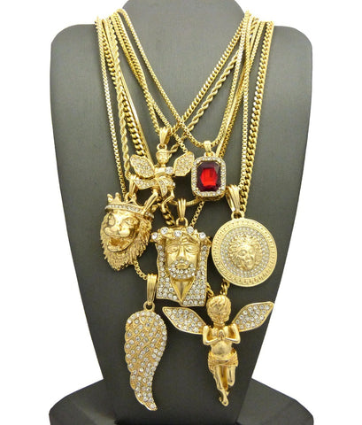 14k Gold Plated 7 Chain Combo Iced Out Ruby Wing Medusa King Leo