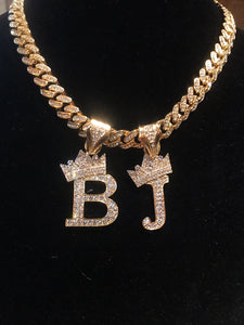 14K Gold Iced Out Double Letter Crown On Iced Out Miami Cuban