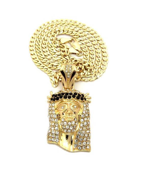 Gold Plated Black Gem Jesus On 30 Inch Cuban Link