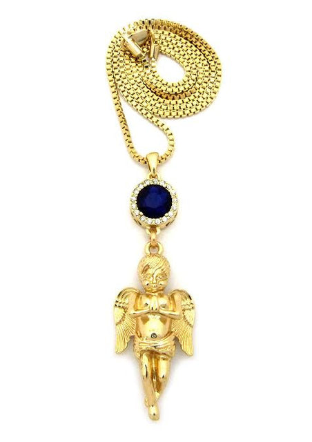 Blue Gem Praying Angel On 30 Inch Box Chain