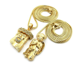 2 Chain Set: Bowing Angel And Iced Out Jesus Piece