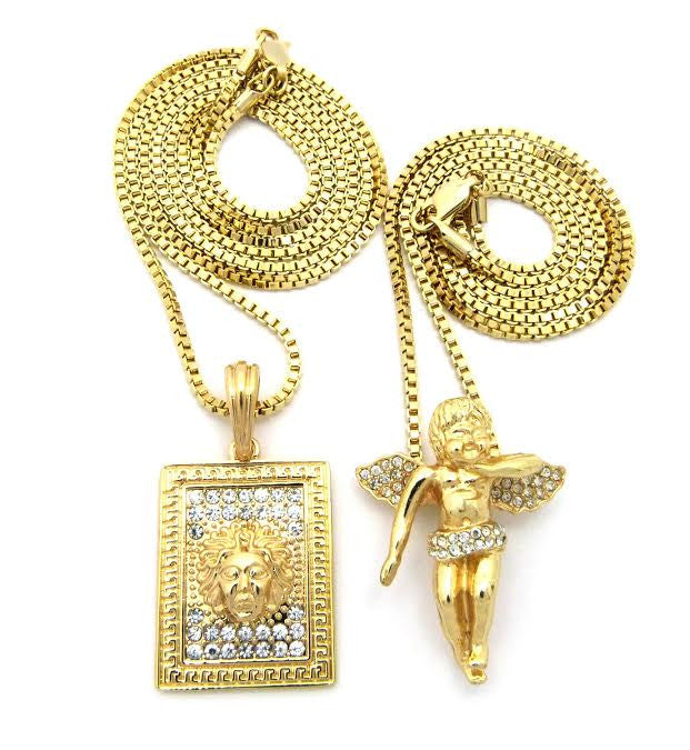 2 Chain Set: Box Medusa And Iced Out Angel On 24 And 30 Inch Box Chain