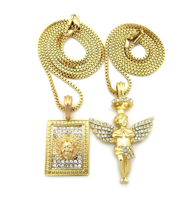 2 Chain Set: Box Medusa And Iced Out Halo Angel 24 And 30 Inch Box Chain