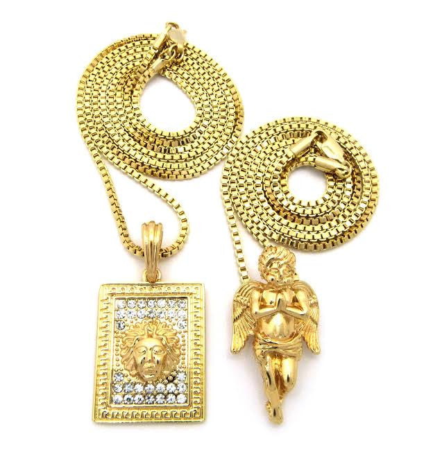 2 Chain Set: Box Medusa And Gold Plated Praying Angel Piece On 24 And 30 Inch Box Chain