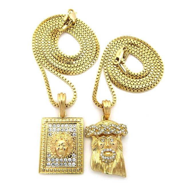 2 Chain Set: Box Medusa And Iced Out Jesus Piece 24 and 30 Inch Box Chain