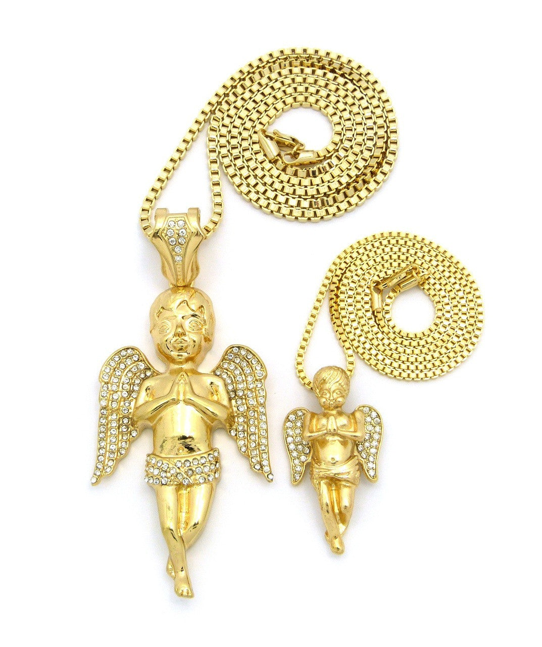 2 Chain Set: Big Praying Angel And Lil Angel On 24 And 30 Inch Box Chain