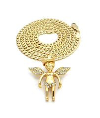 Iced Out Crown Angel On 24 Inch Cuban Link
