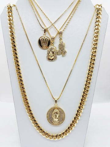 14k Gold Plated 5 Chain Combo Icey Praying Hands Jesus Mary Circle King 30 Inch Cuban