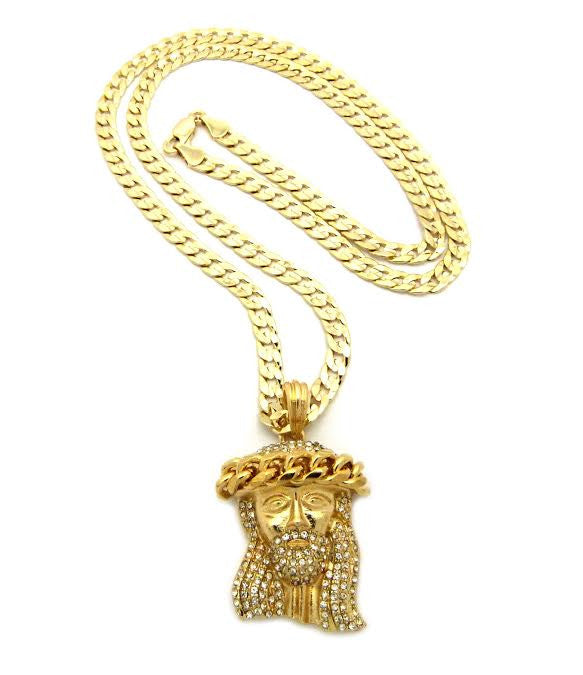 gold piece pendant set yellow with jesus necklace rope chain pmujewelry