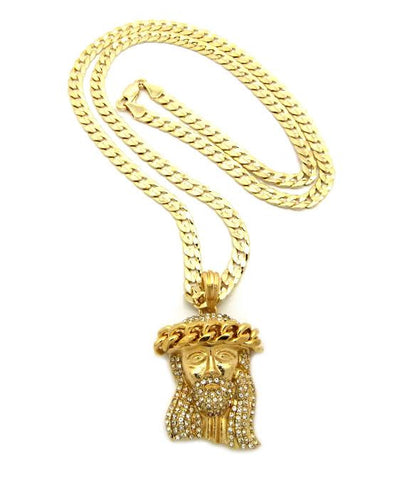 Iced Out Jesus Piece With 24 Inch Cuban Link Chain