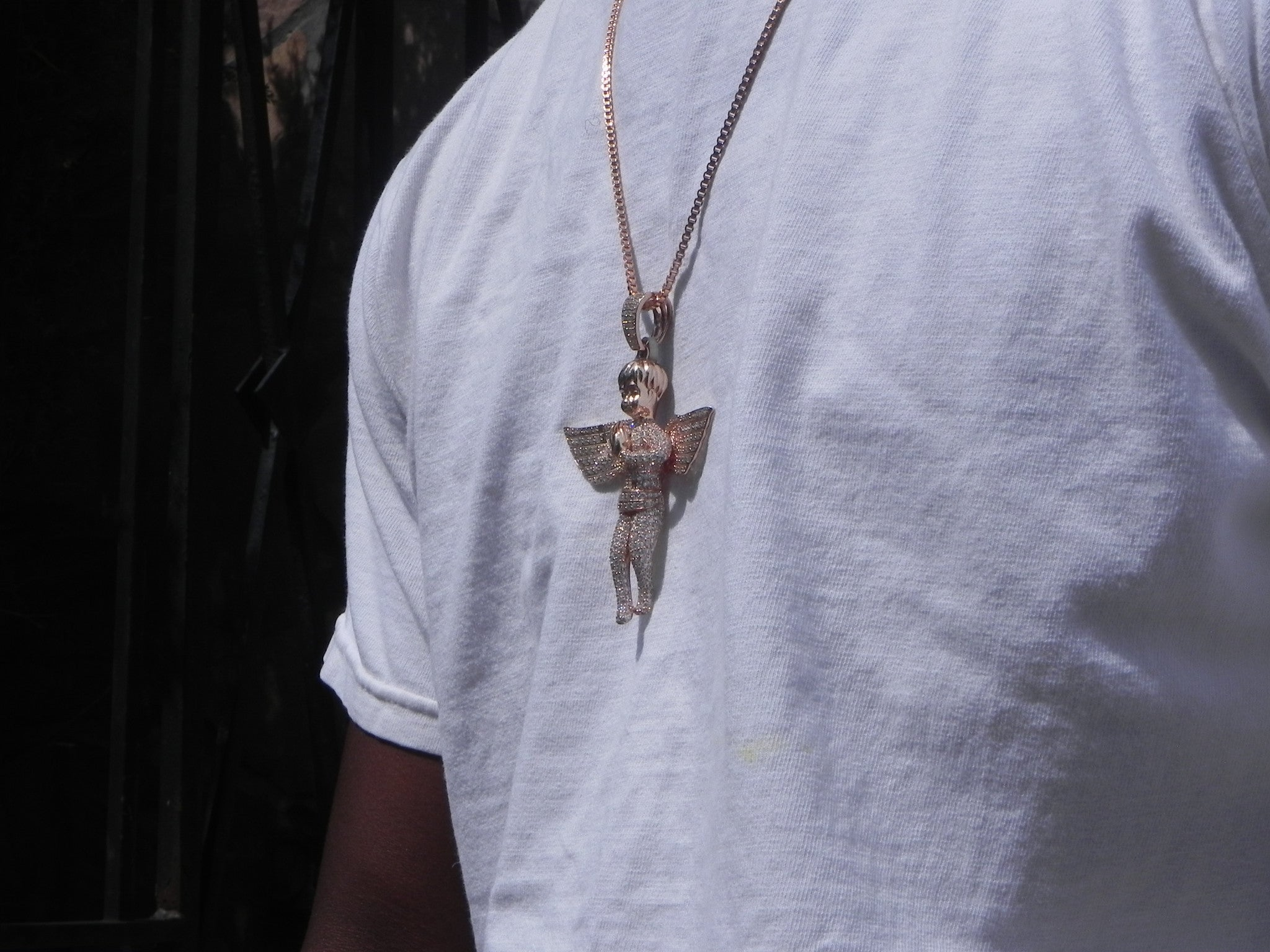 Exclusive Iced Out Rose Gold Praying Angel  On 24inch Box Chain