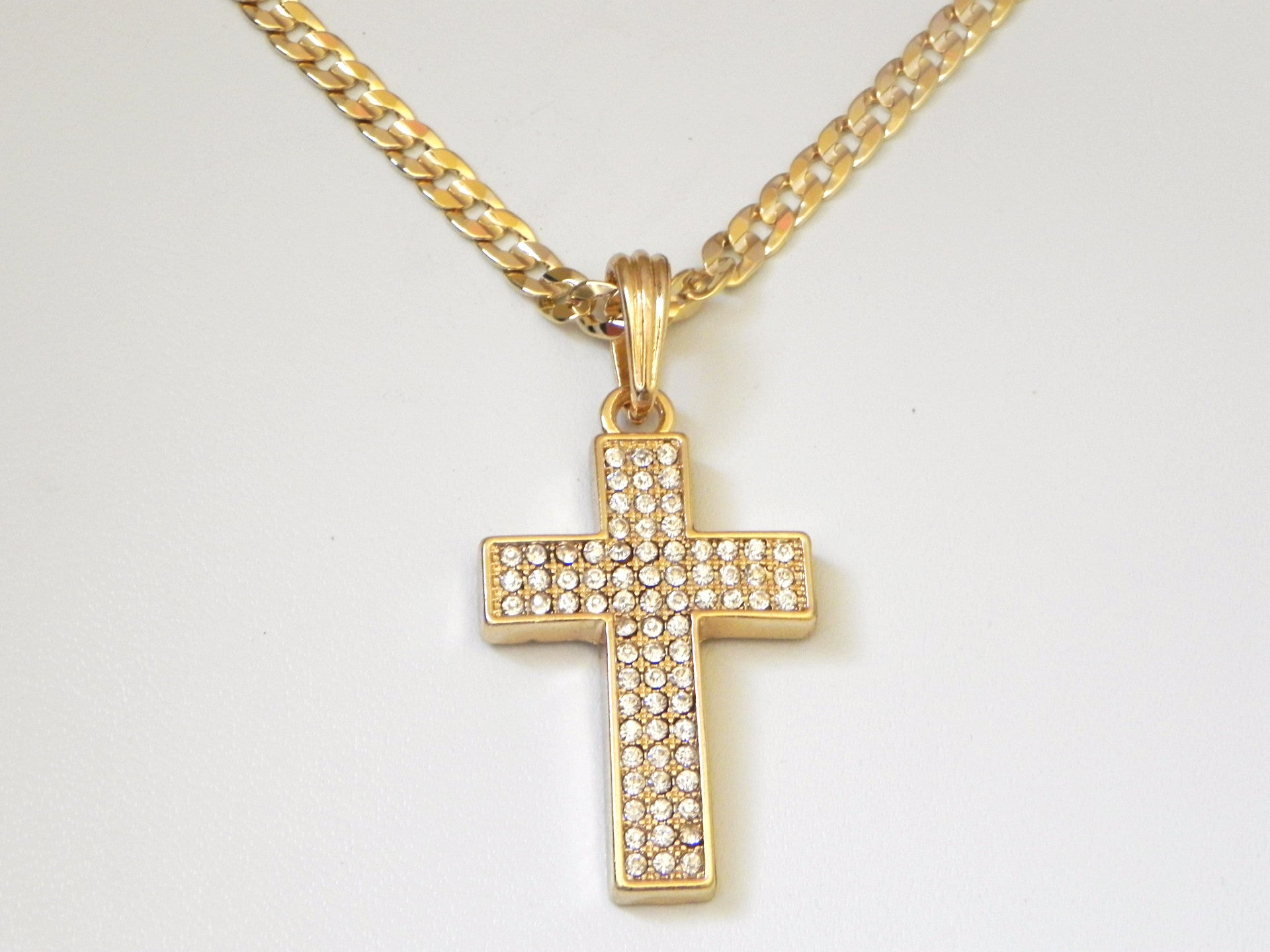 Fully Iced Out Cross On Cuban Link Chain