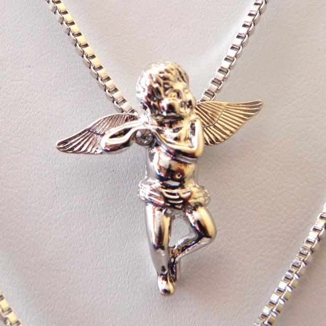 Silver Cherub Angel and Playing Flute Angel on 24 inch Box Chains