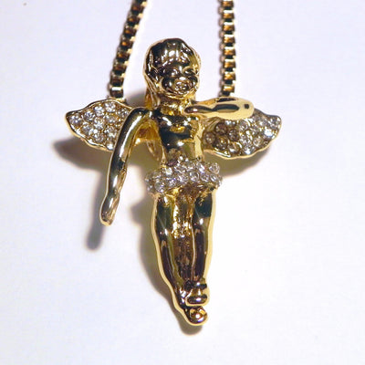 Iced Out Cherub Angel with Box Chain