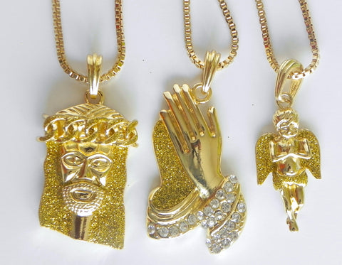3 Chain Set: Yellow Dusted Jesus, Yellow Praying Hands, and Lil Yellow Angel