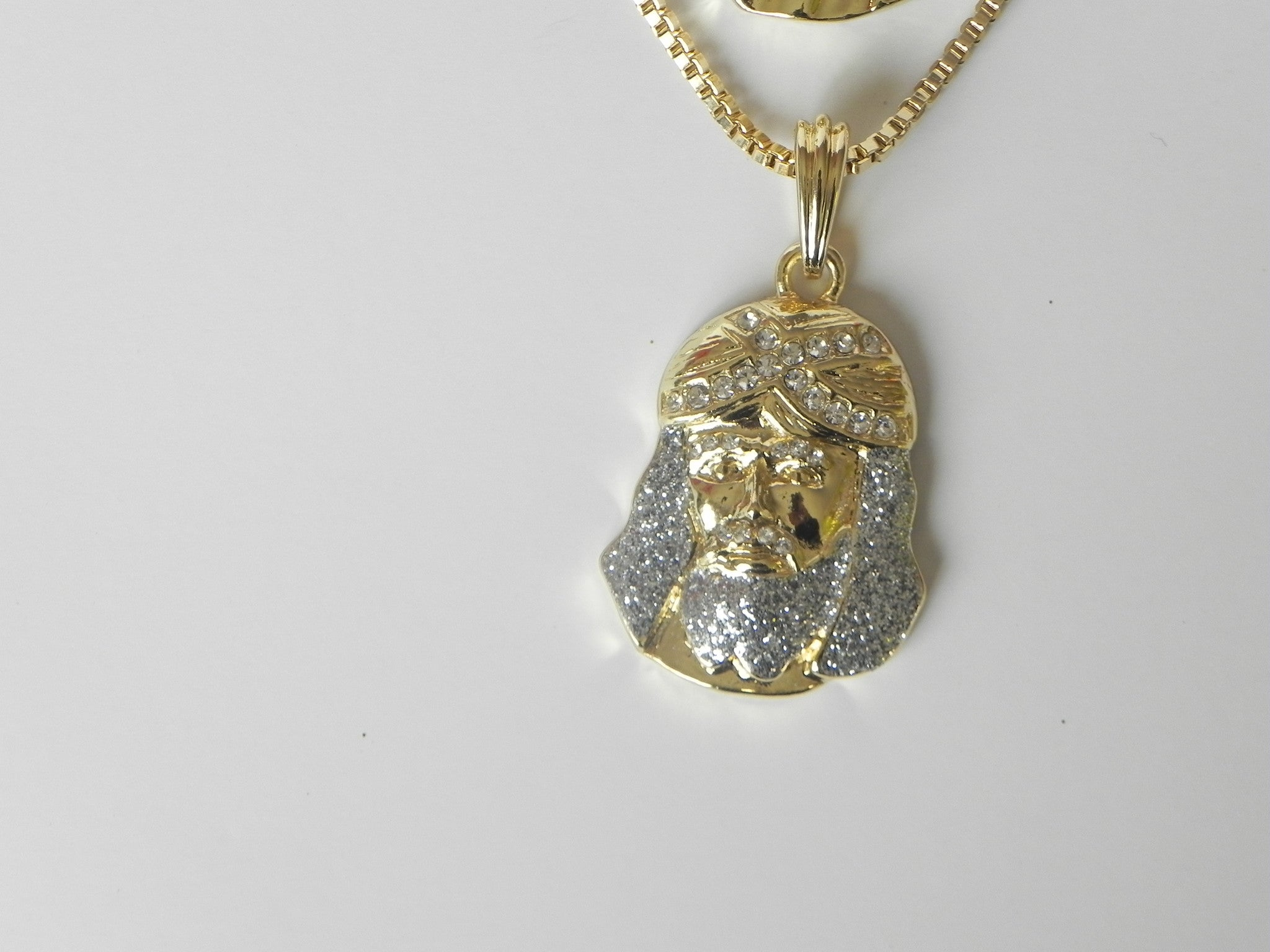 2 Chain set Blue Beard Jesus and Iced Out Jesus Piece