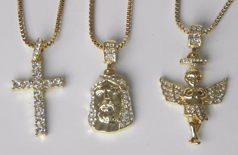 3 Chain Set Iced Out Jesus Piece Iced Out Cross and Iced Out Halo Angel
