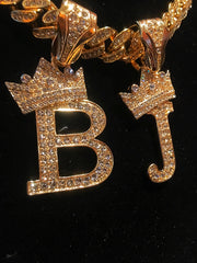 14K Gold Icey Double Letter Crown On Icey Miami Cuban